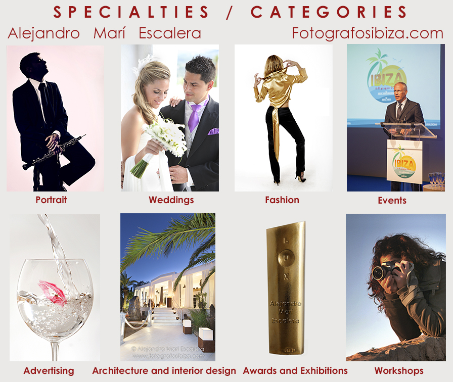 Menu specialties ibiza professional photographer wedding portrait fashion interior decoration arquitecture nude